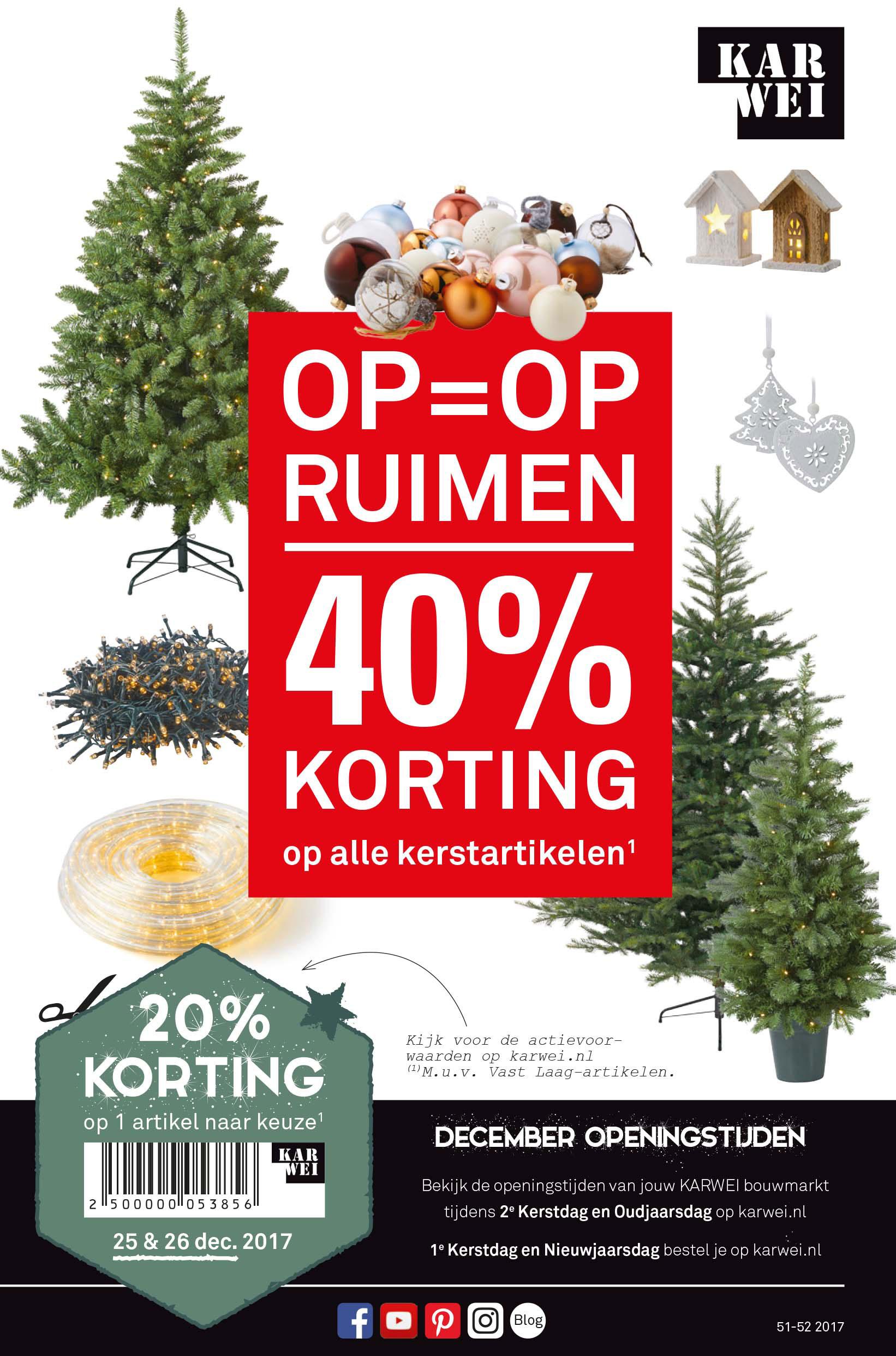 Karwei Op=op Ruimen: 40% Korting Op Alle Kerstartikelen