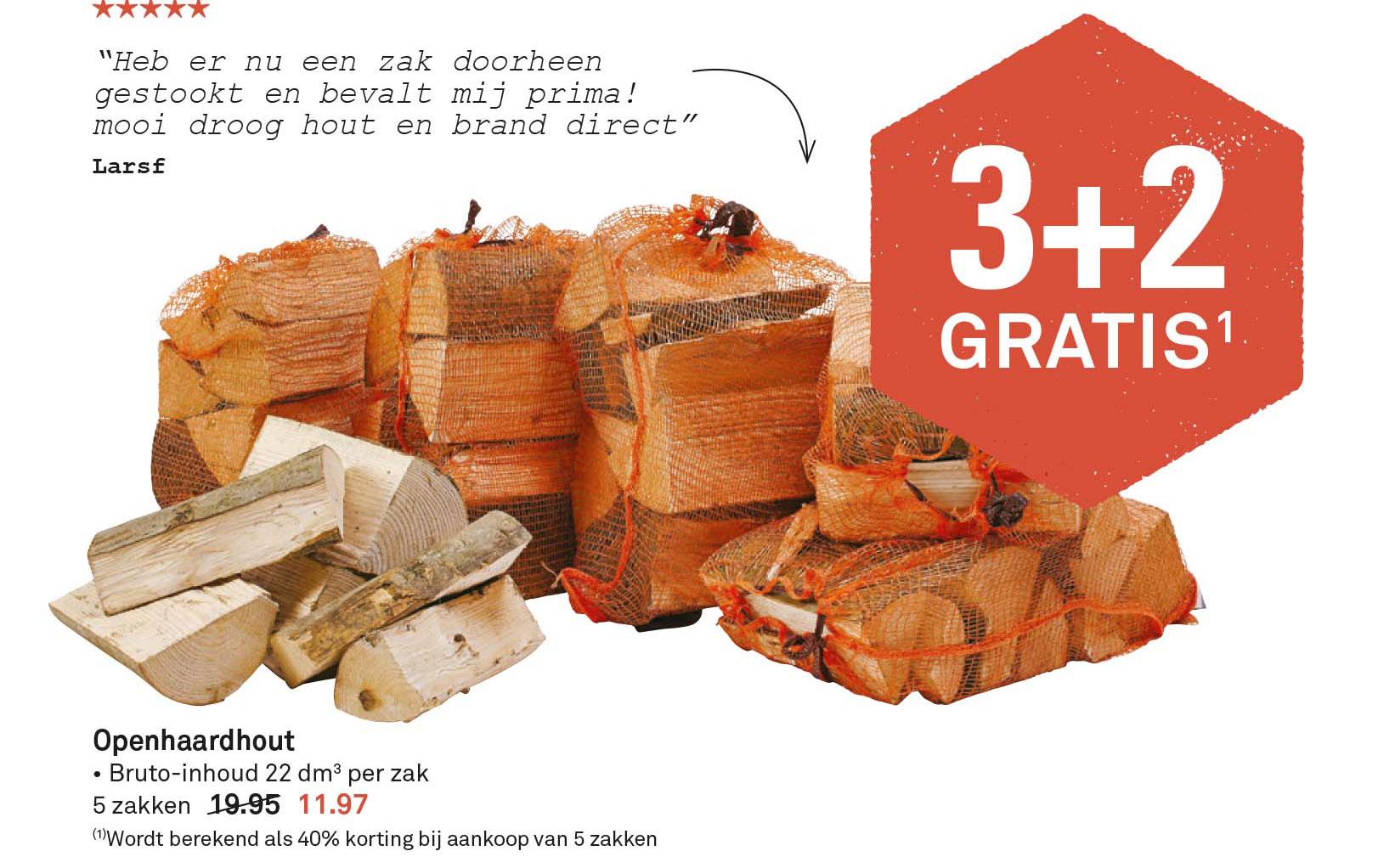 Karwei Openhaardhout: 3+2 Gratis