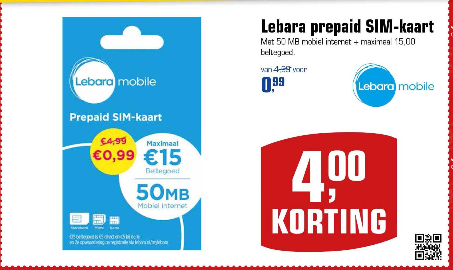 Primera Lebara Prepaid Sim Kaart: €4,- Korting