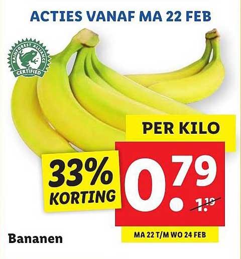 Lidl Bananen 33% Korting