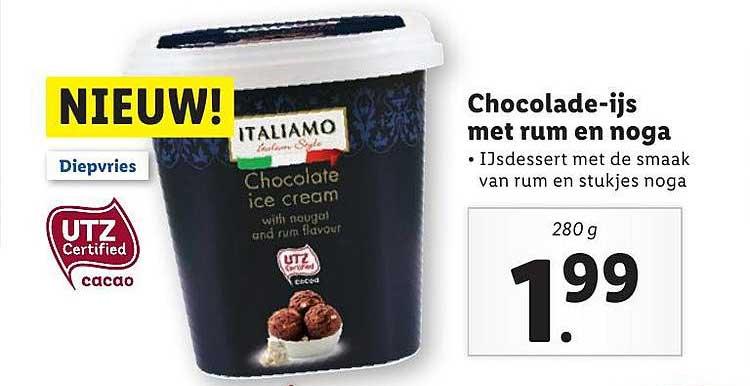Lidl Chocolade-Ijs Met Rum En Noga