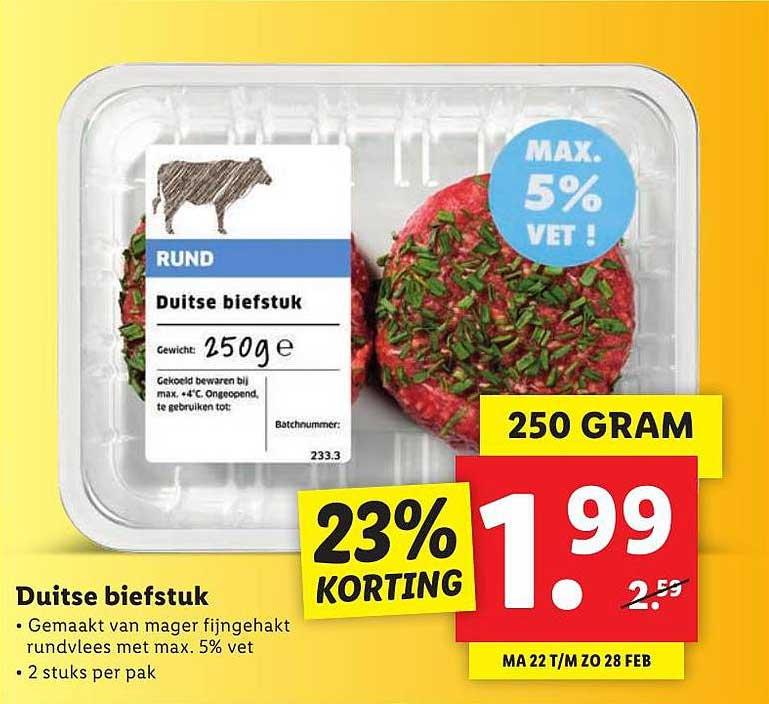 Lidl Duitse Biefstuk 23% Korting