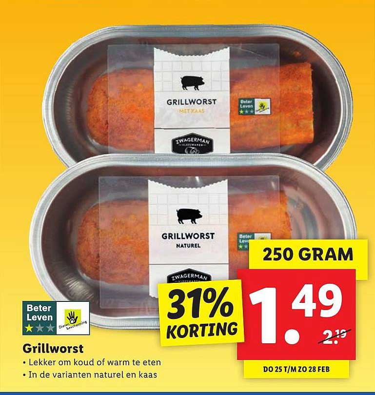 Lidl Grillworst 31% Korting