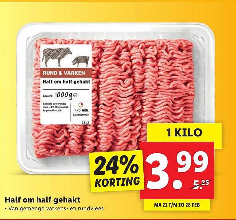 Lidl Hamlf Om Half Gehakt 24% Korting