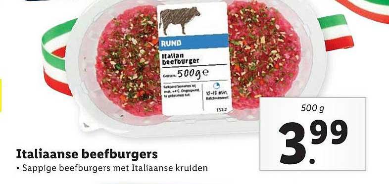 Lidl Italiaanse Beefburgers