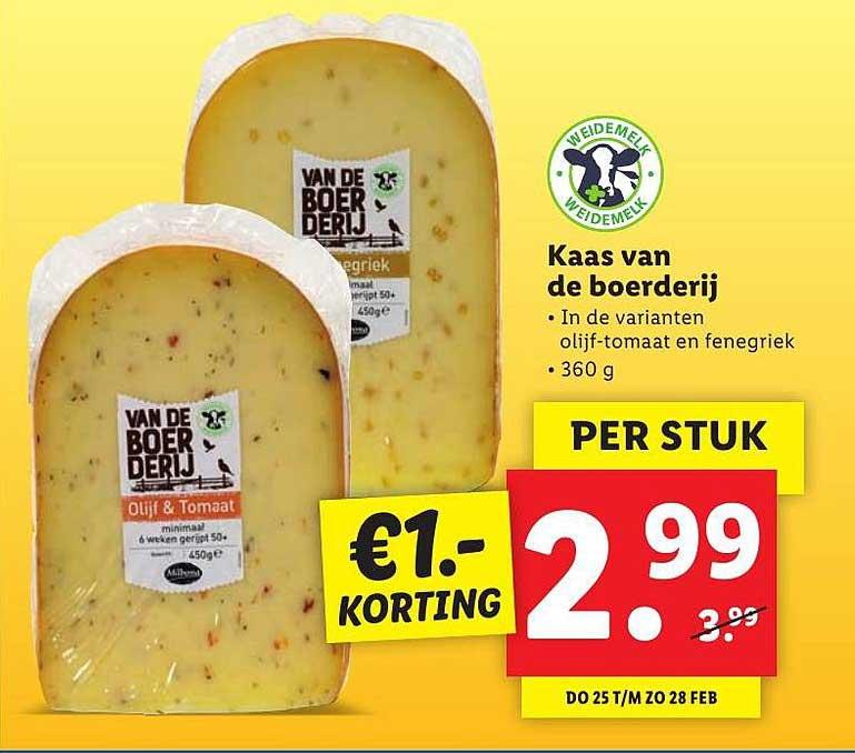 Lidl Kaas Van De Boerderij €1.- Korting