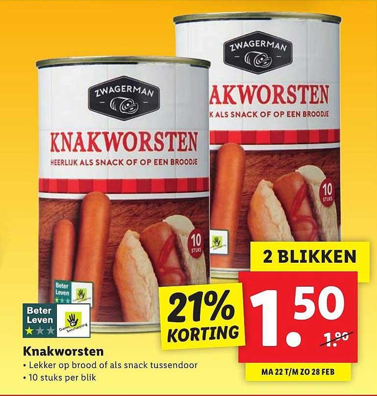 Lidl Knakworsten 21% Korting