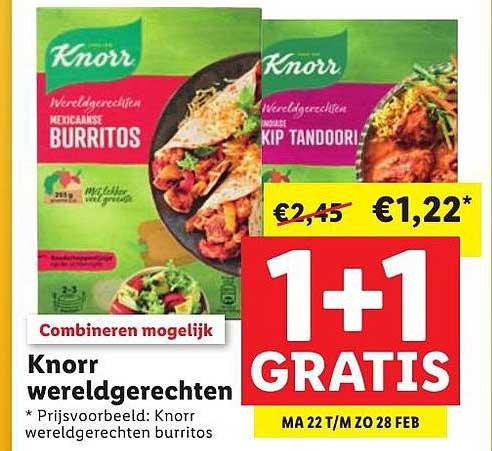 Lidl Knorr Wereldgerechten 1+1 Gratis