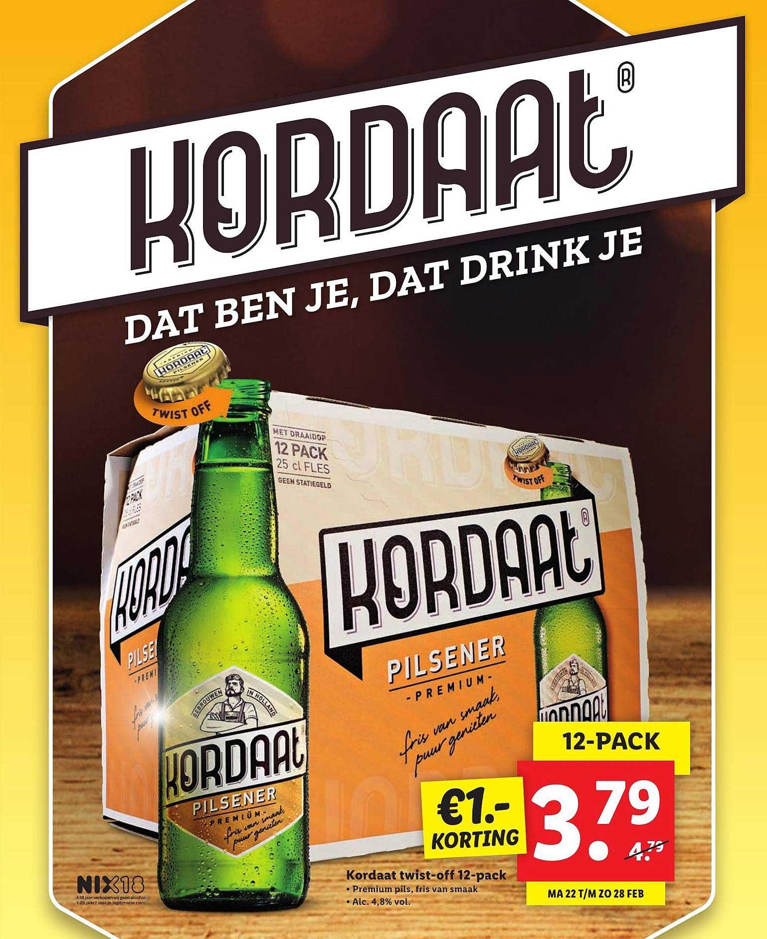 Lidl Kordaat Twist-Off 12-Pack €1.- Korting