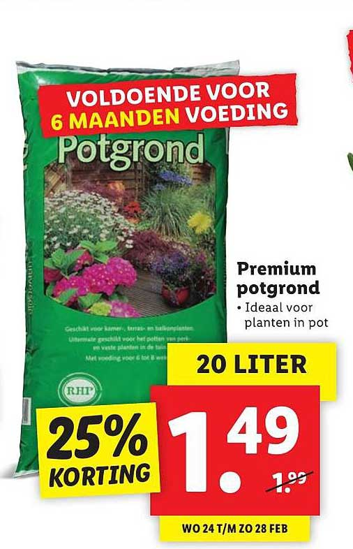 Lidl Premium Potgrond 25% Korting