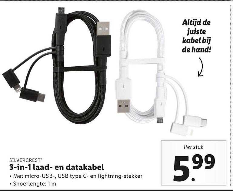 Lidl Silvercrest 3-in-1 Laad- En Datakabel