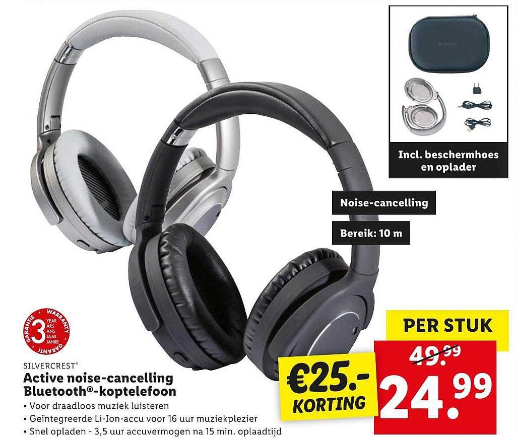 Lidl Silvercrest Active Noise-Cancelling Koptelefoon Bluetooth-Koptelefoon €25.- Korting