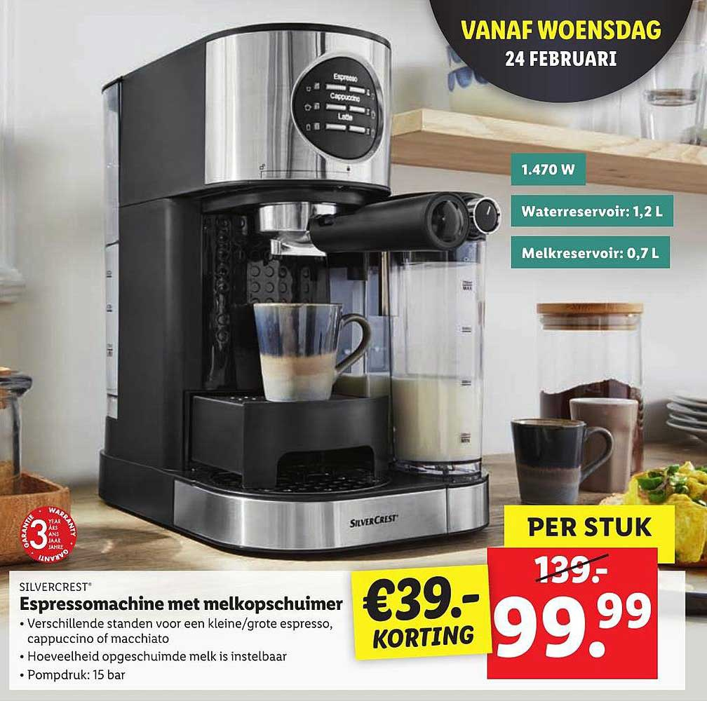 Lidl Silvercrest Espressomachine Met Melkopschuimer €39.- Korting