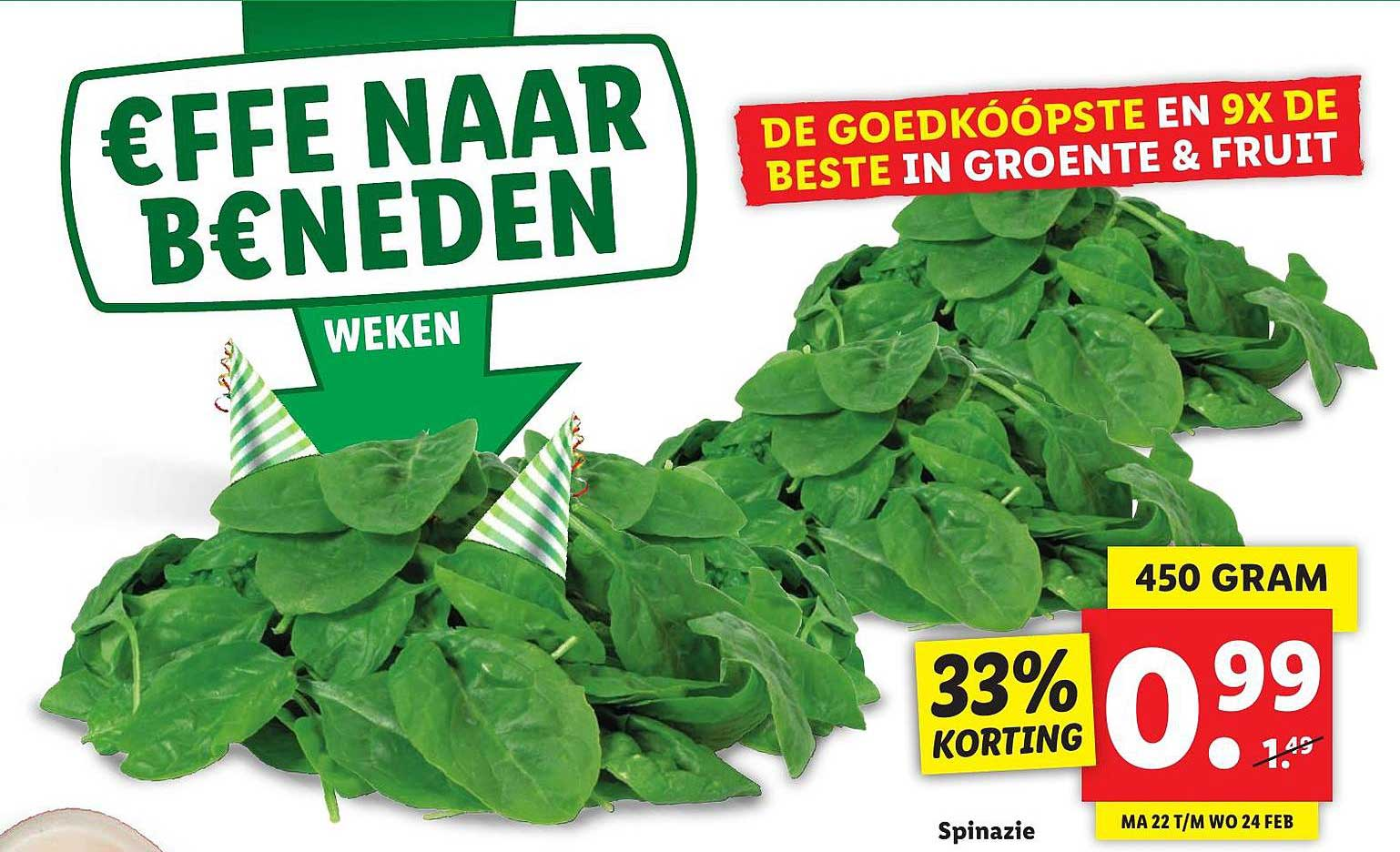 Lidl Spinazie 33% Korting