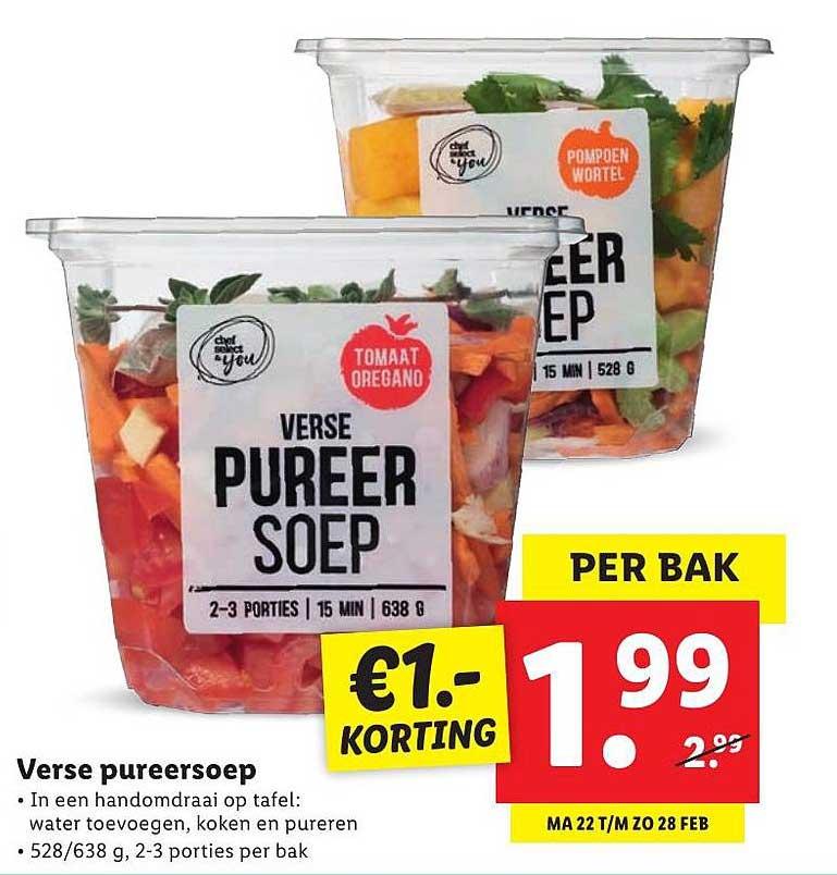 Lidl Verse Pureersoep €1.- Korting