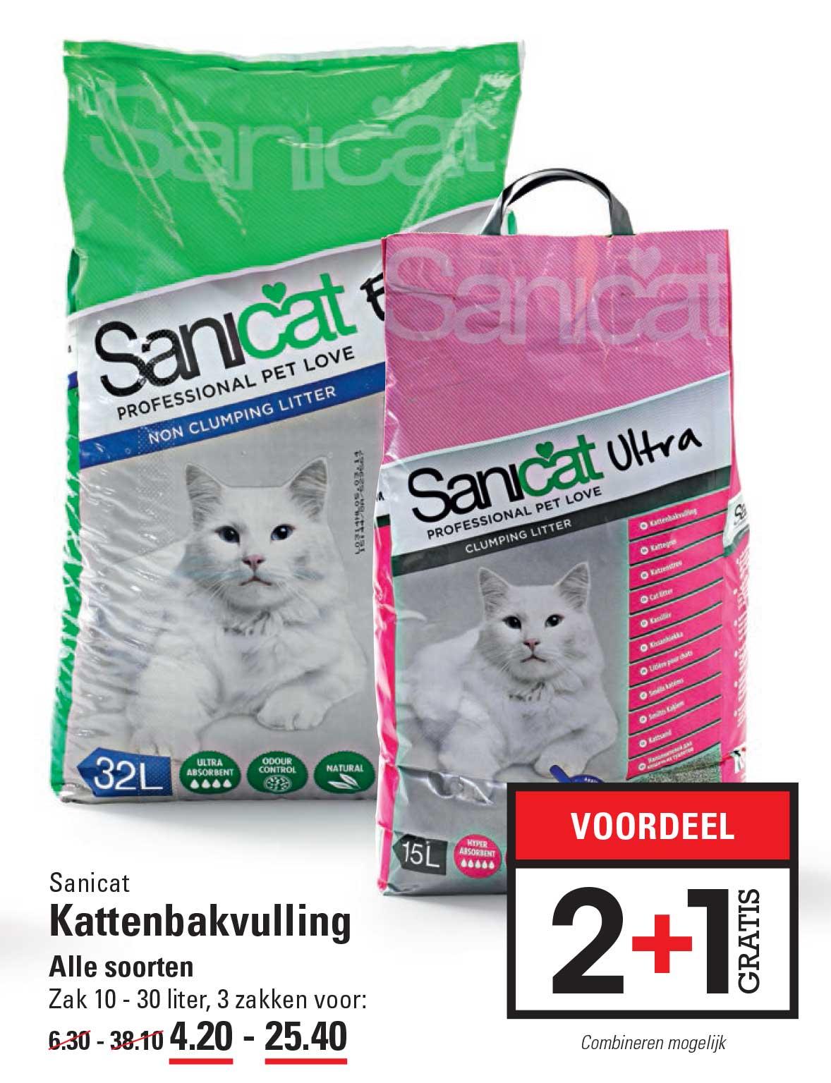 Sligro Sanicat Kattenbakvulling: 2+1 Gratis