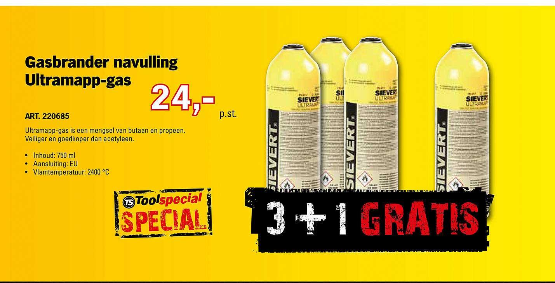 Toolspecial Gasbrander Navulling Ultramapp-Gas 3+1 Gratis