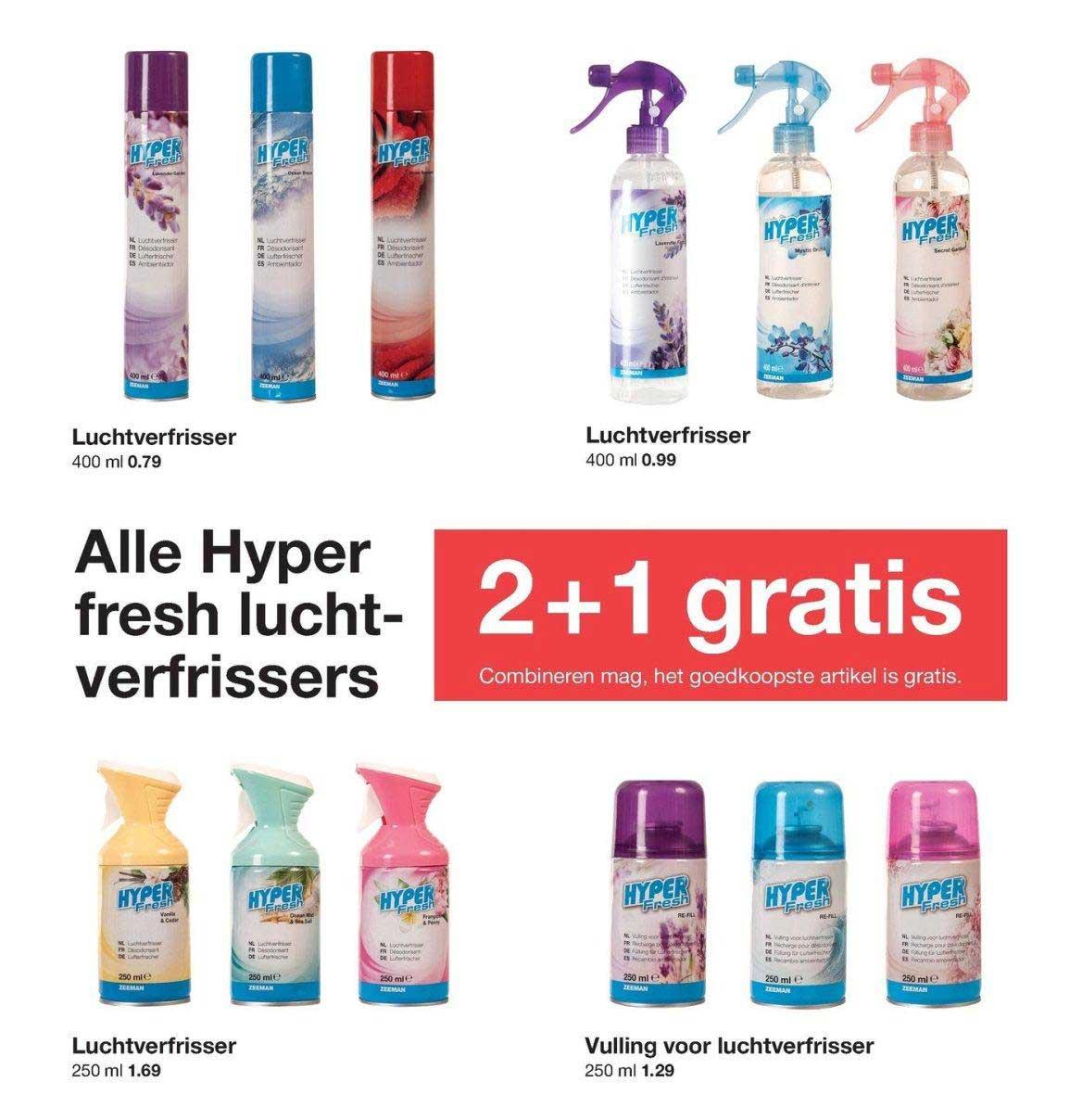 Zeeman Alle Hyper Fresh Luchtverfrissers: 2+1 Gratis