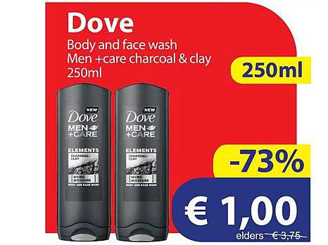 Die Grenze Dove Body And Face Wash Men +Care Charcoal & Clay 250ml