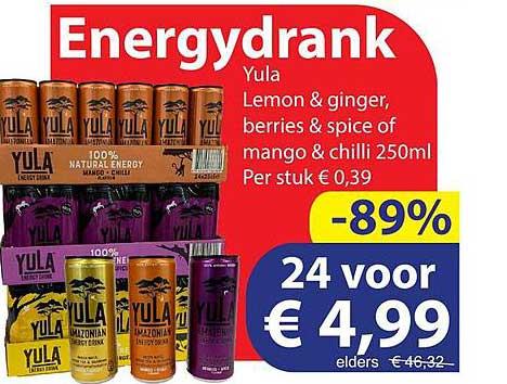 Die Grenze Energydrank Yula Lemon & Ginger, Berries & Spice Of Mango & Chilli 250ml