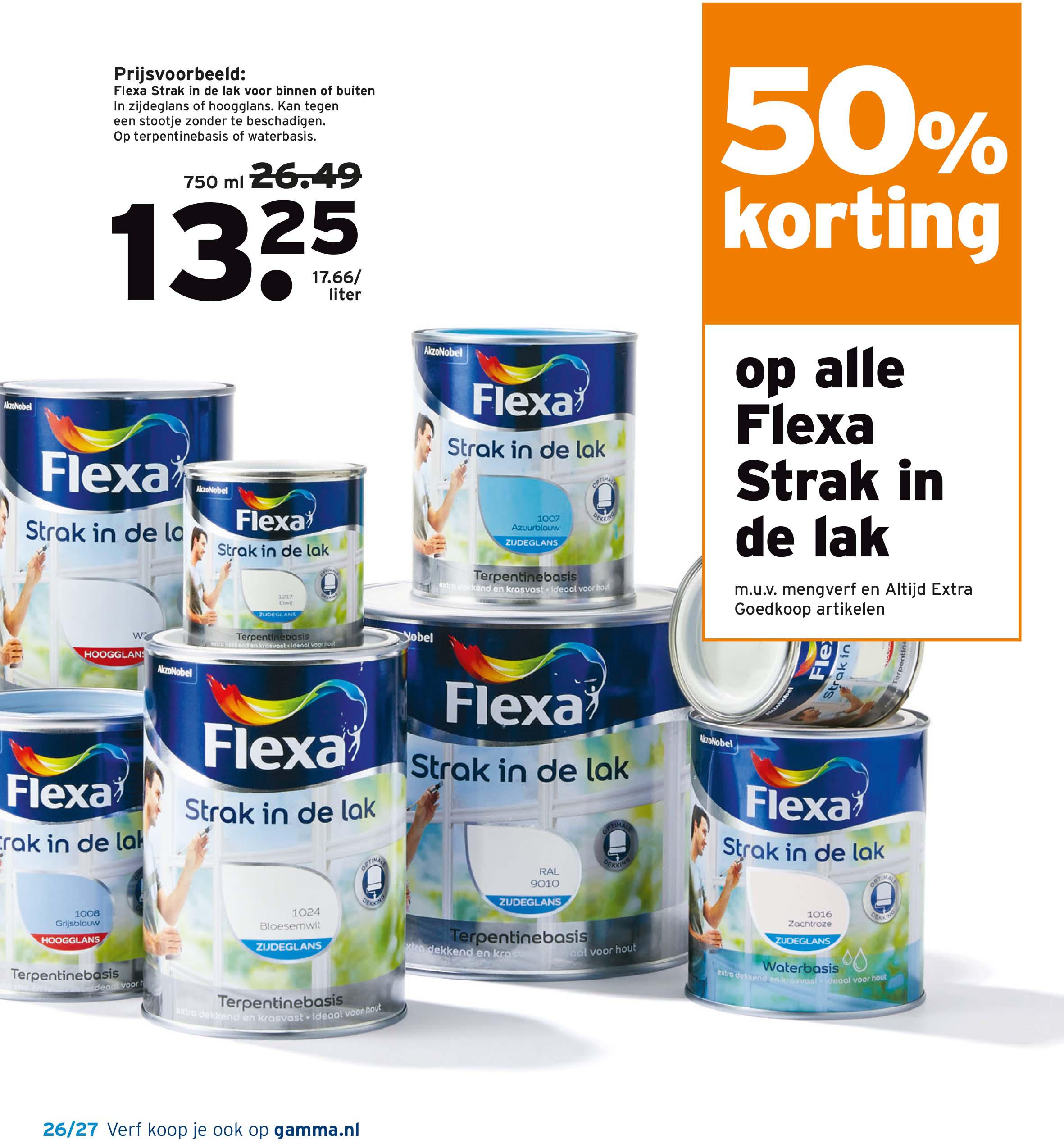 Gamma 50% Korting Op Alle Flexa Strak In De Lak