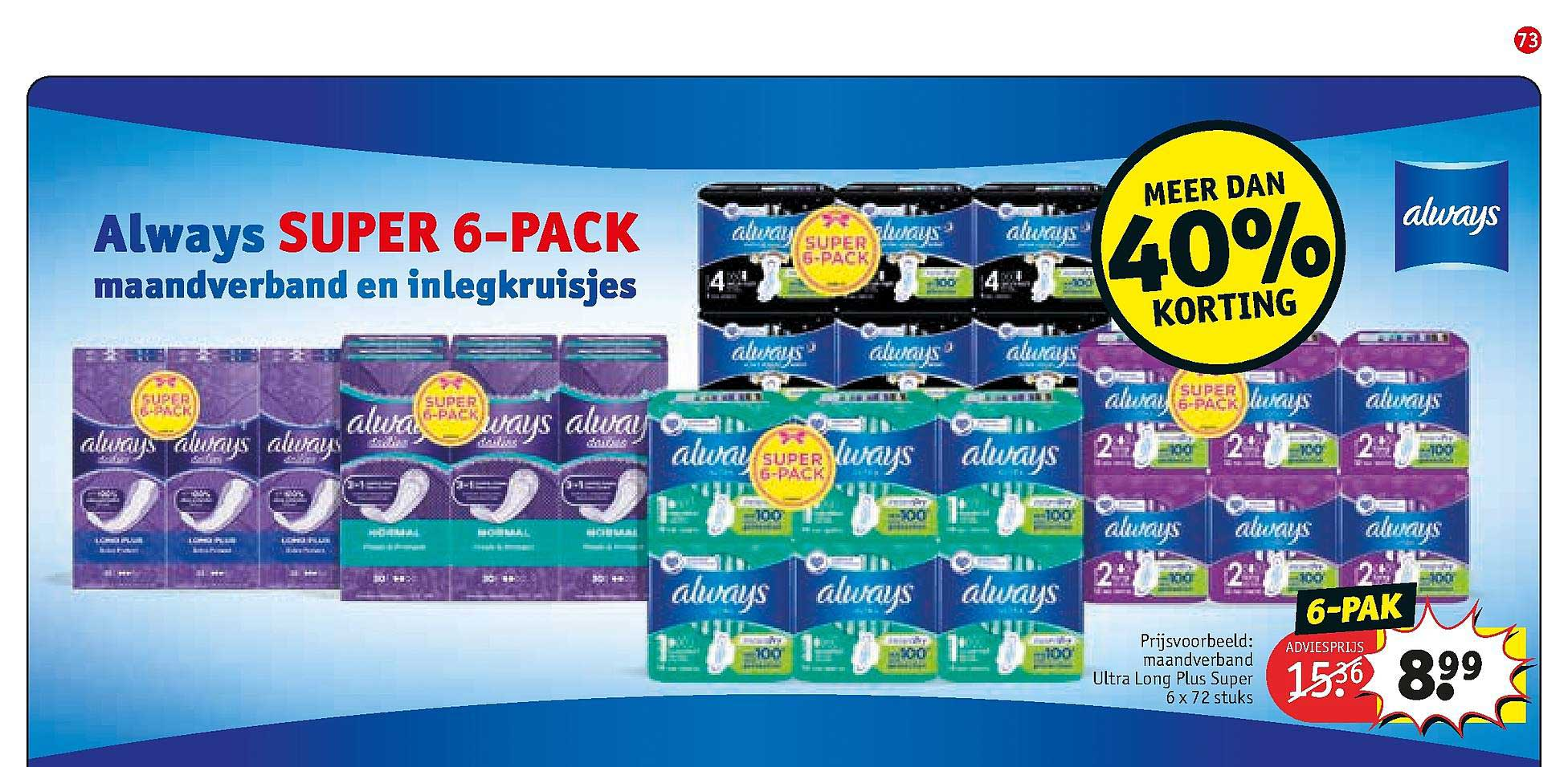 Kruidvat Always Super 6-Pack Maandverband En Inlegkruisjes