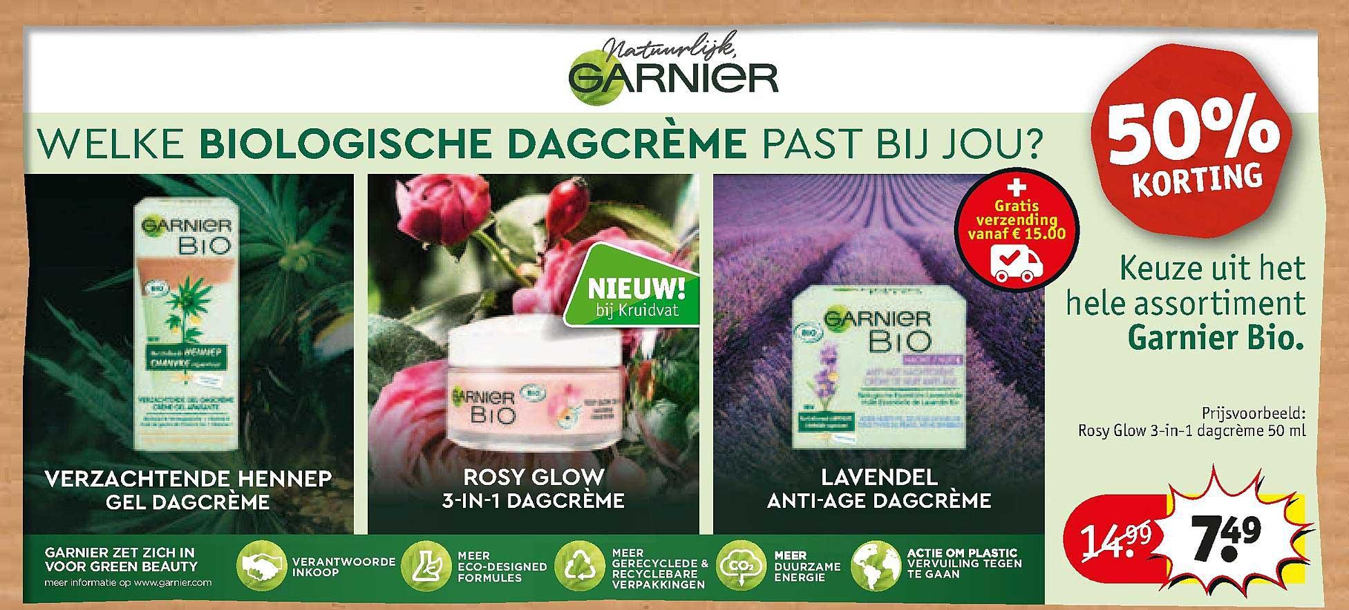 Kruidvat Garnier Bio Verzachtende Hennep Gel Dagdreme, Rosy Glow 3-In-1 Dagcreme, Lavendel Anti-Age Dagcreme