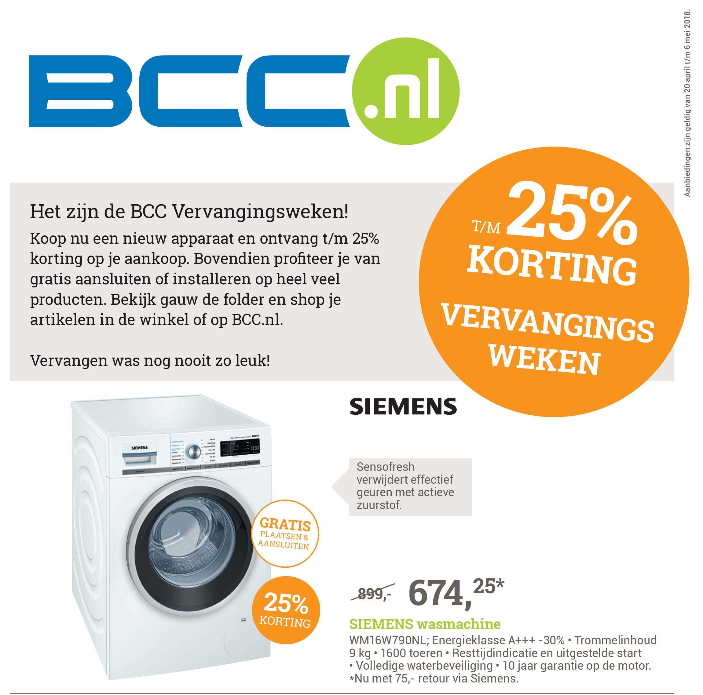 BCC BCC Vervangingsweken: T-m 25% Korting