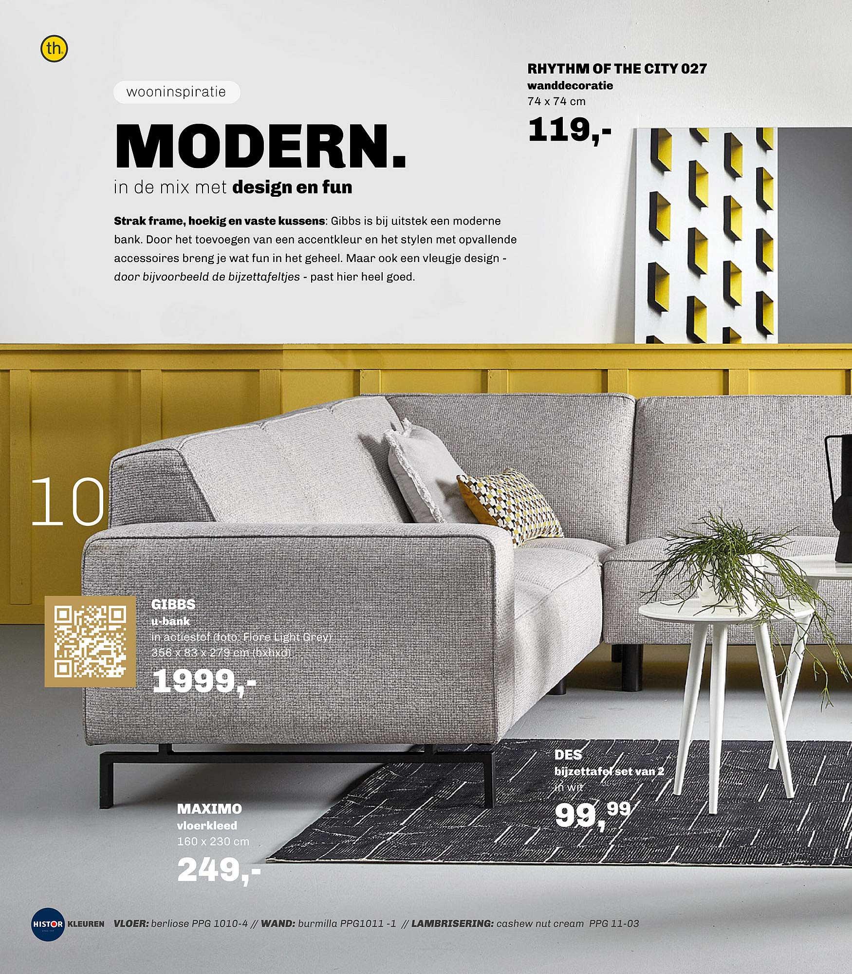 Trendhopper Rhythm Of The City 027 Wanddecoratie, Gibbs U-Bank, Maximo Vloerkleed Of DES Bijzettafel Set Van 2