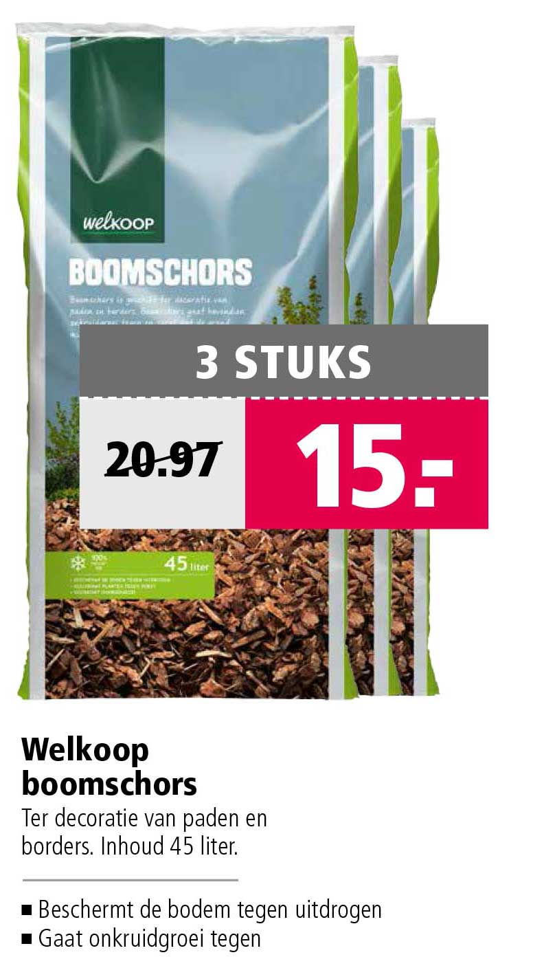 Welkoop Welkoop Boomschors: 3 Stuks €15,-