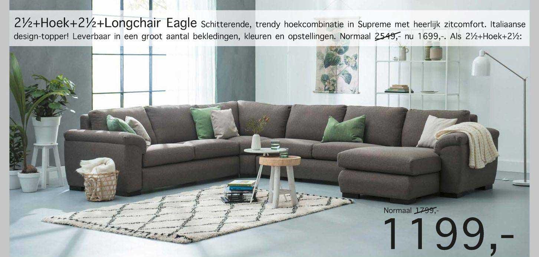 Woonsquare 2½+Hoek+2½+Longchair Eagle Hoekcombinatie