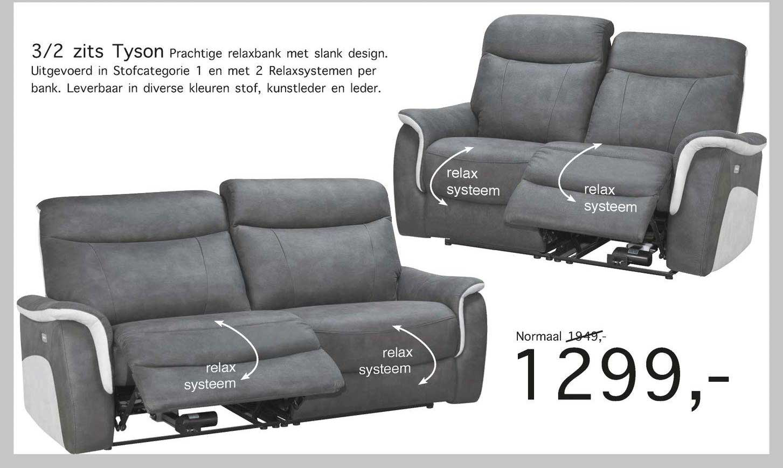 Woonsquare 3-2 Zits Tyson Prachtige Relaxbank Met Slank Design
