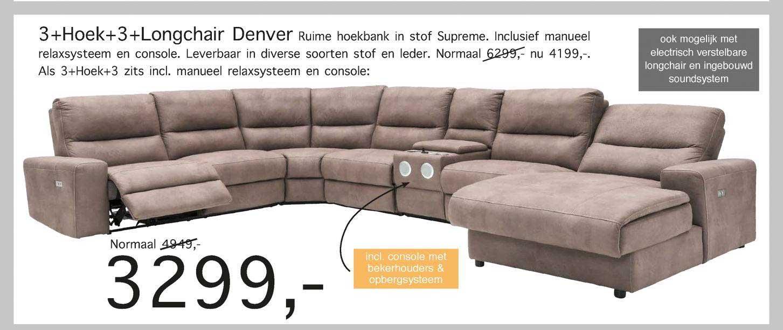 Woonsquare 3+Hoek+3+Longchair Denver Ruime Hoekbank In Stof Supreme