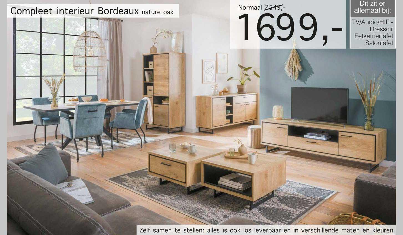 Woonsquare Compleet Interieur Bordeaux Nature Oak TV-Audio-Hifi-Dressoir, Eetkamertafel, Salontafel