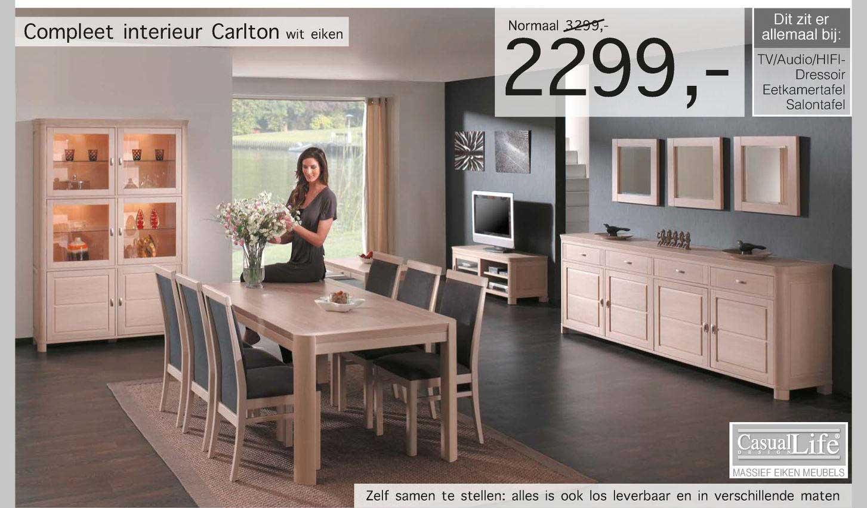 Woonsquare Compleet Interieur Carlton Wit Eiken TV-Audio-Hifi-Dressoir, Eetkamertafel, Salontafel