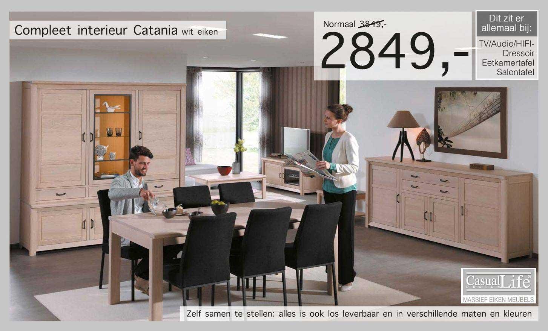 Woonsquare Compleet Interieur Catania Wit Eiken TV-Audio-Hifi-Dressoir, Eetkamertafel, Salontafel