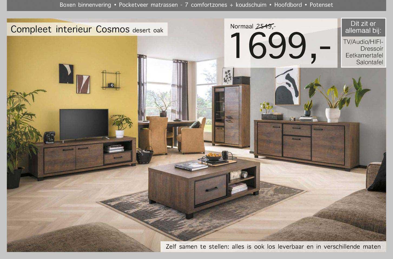 Woonsquare Compleet Interieur Cosmos Desert Oak TV-Audio-Hifi-Dressoir, Eetkamertafel, Salontafel