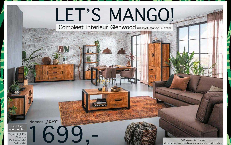 Woonsquare Compleet Interieur Glenwood Massief Mango + Staal TV-Audio-Hifi-Dressoir, Eetkamertafel, Salontafel