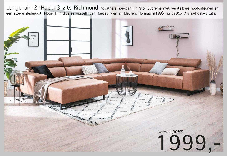 Woonsquare Longchair+2+Hoek+3 Zits Richmond Industriele Hoekbank In Stof Supreme
