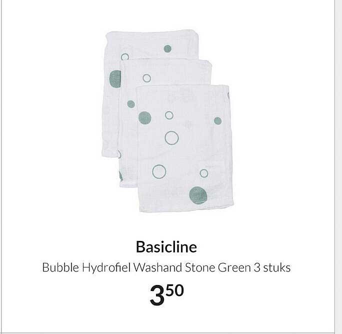 Babypark Basicline Bubble Hydrofiel Washand Stone Green 3 Stuks