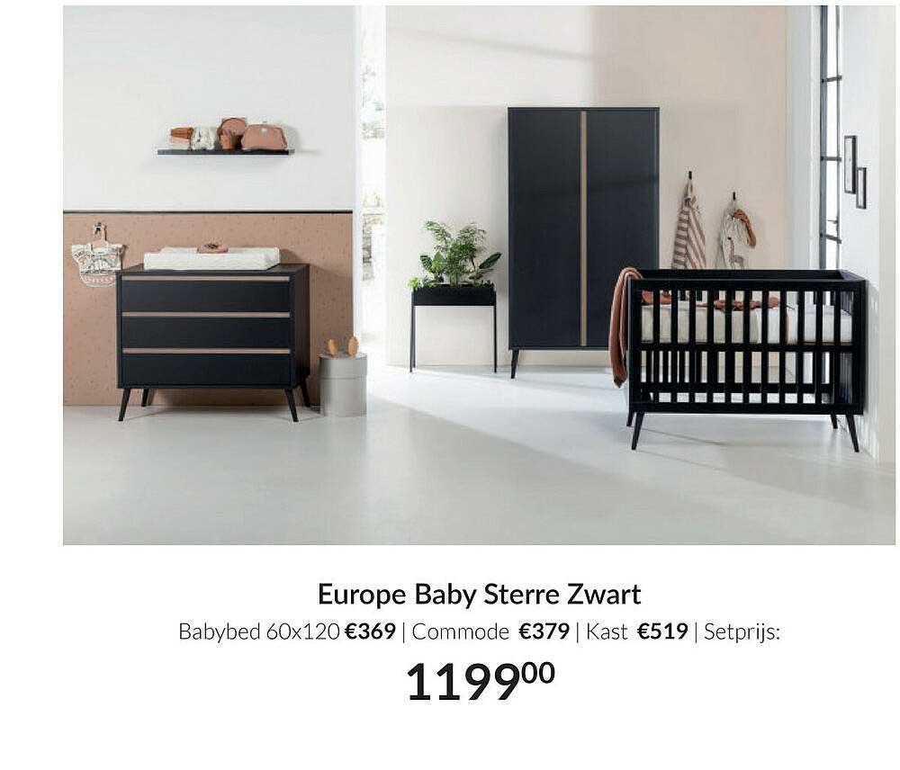 Babypark Europe Baby Sterre Zwart : Babybed 60x120   Commode   Kast
