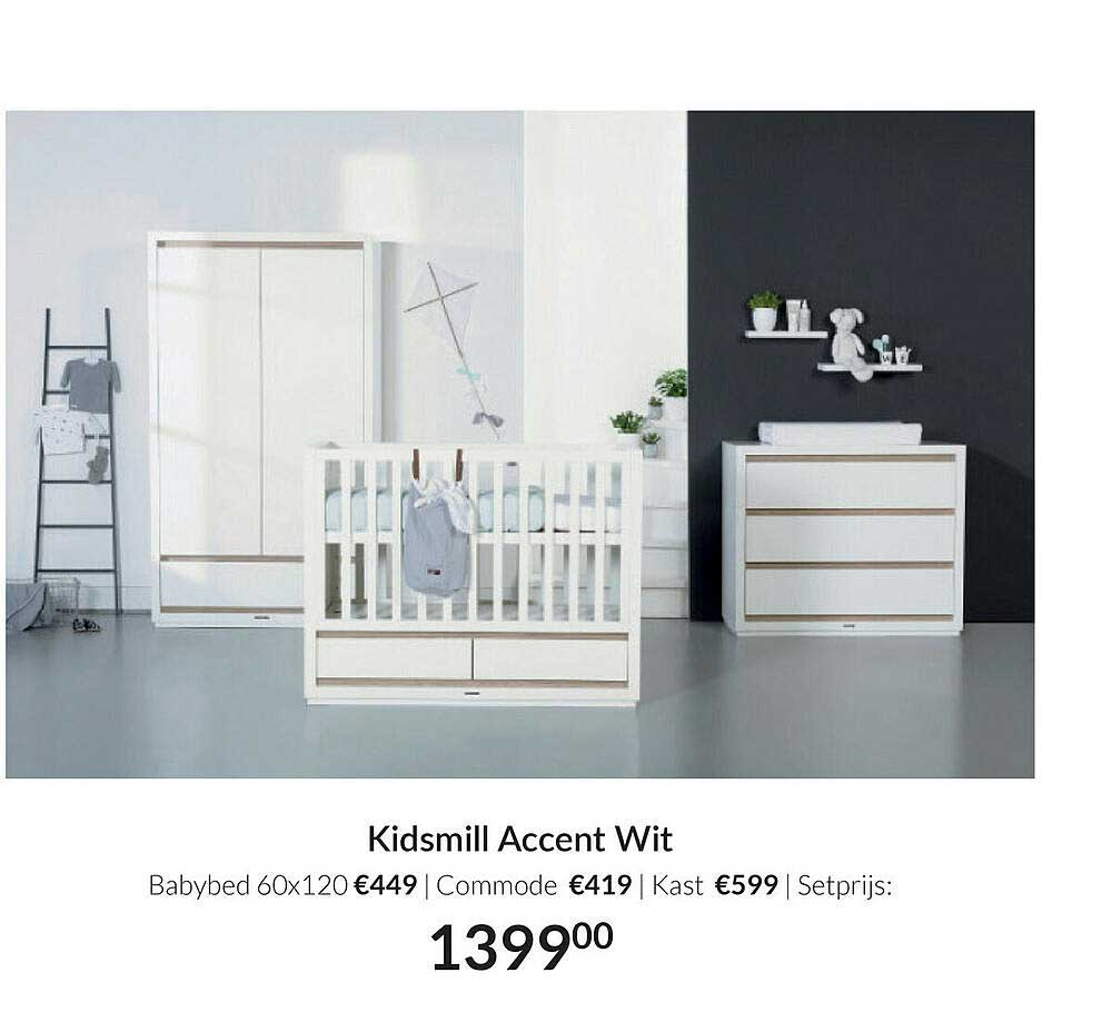 Babypark Kidsmill Accent Wit : Babybed 60x120   Commode   Kast