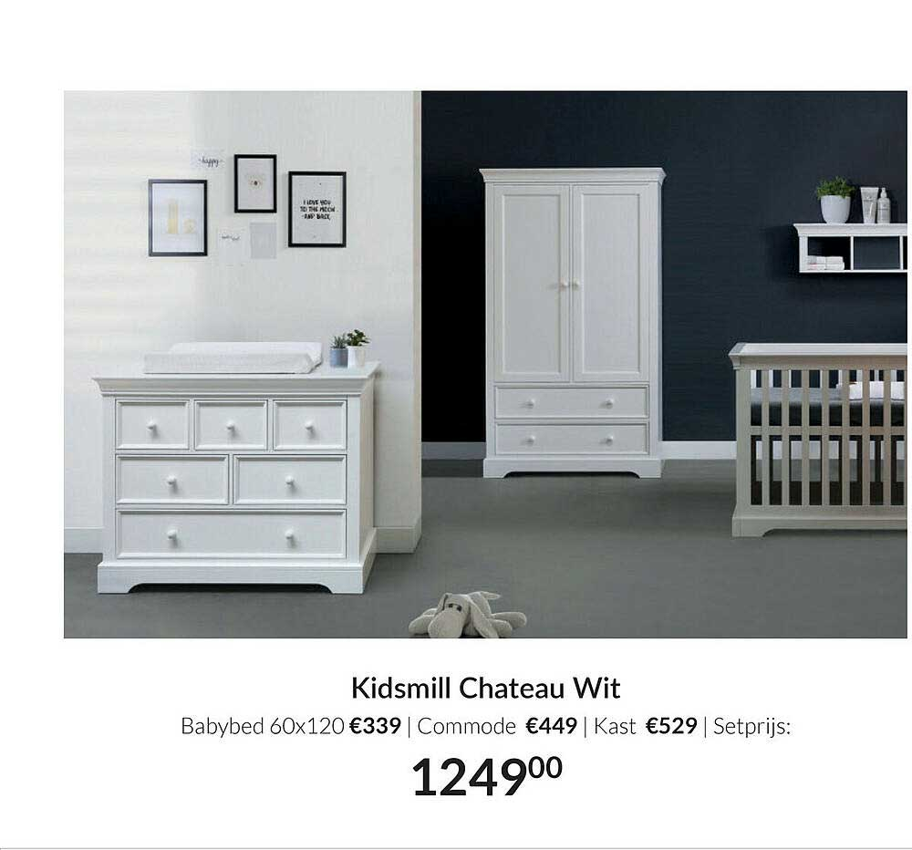 Babypark Kidsmill Chateau Wit : Babybed 60x120   Commode   Kast