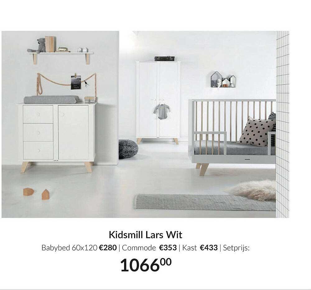 Babypark Kidsmill Lars Wit : Babybed 60x120   Commode   Kast