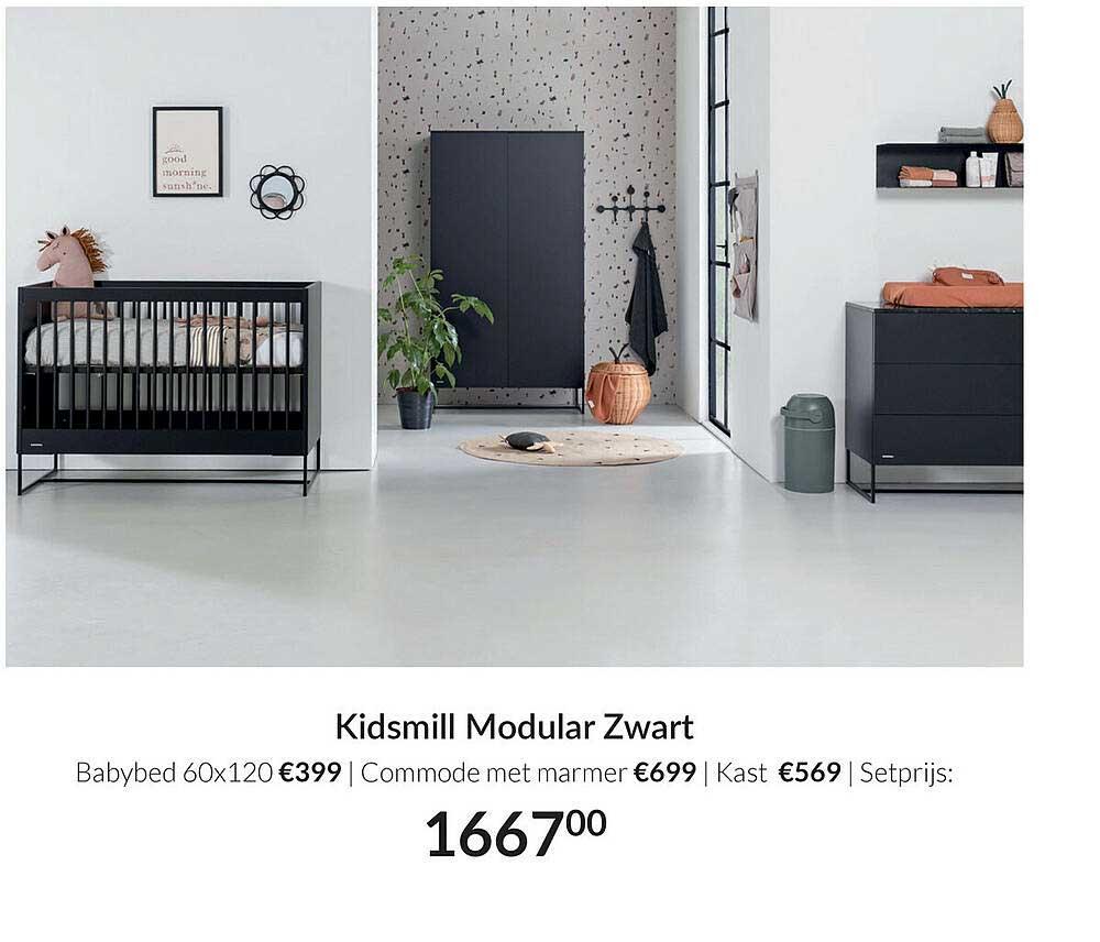 Babypark Kidsmill Modular Zwart : Babybed 60x120   Commode Met Marmer   Kast