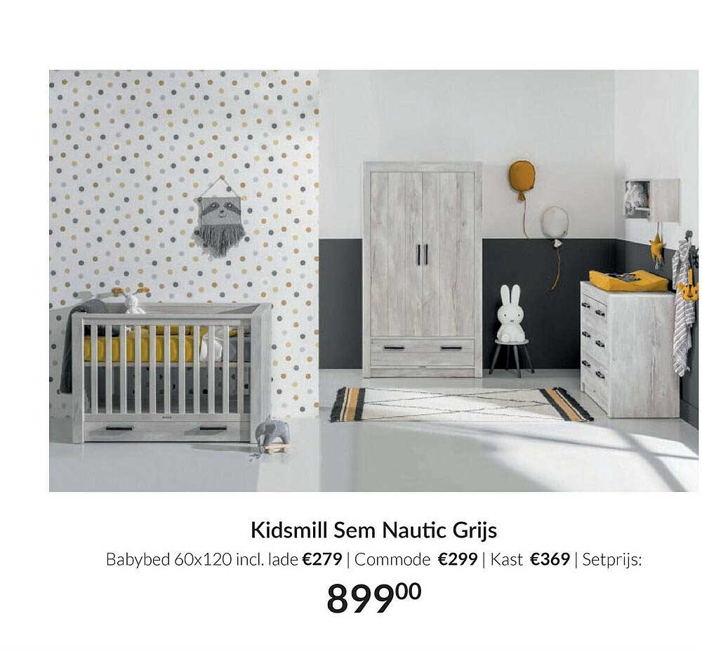 Babypark Kidsmill Sem Nautic Grijs Babybed 60x120 Incl. Lade   Commode   Kast