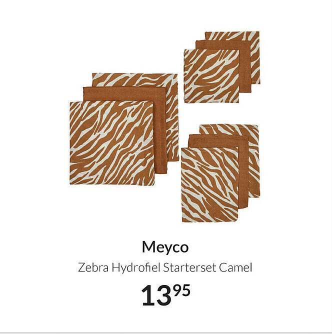 Babypark Meyco Zebra Hydrofiel Starterset Camel
