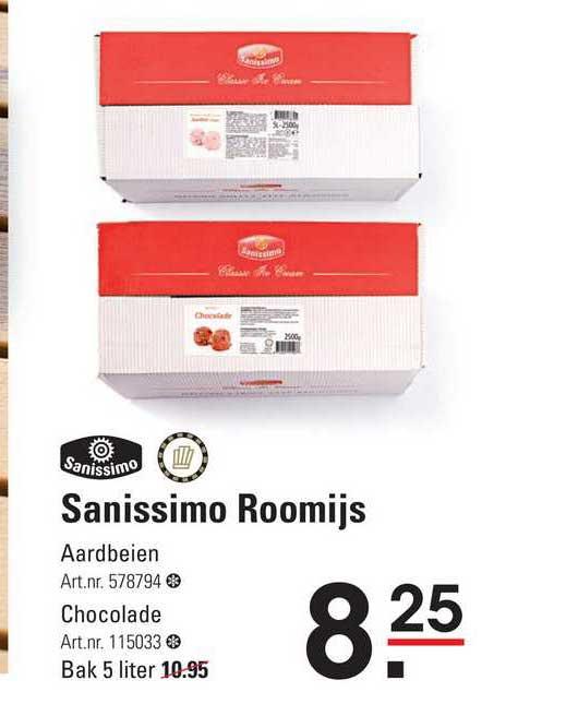 Sligro Sanissimo Roomijs Aardbeien Of Chocolade
