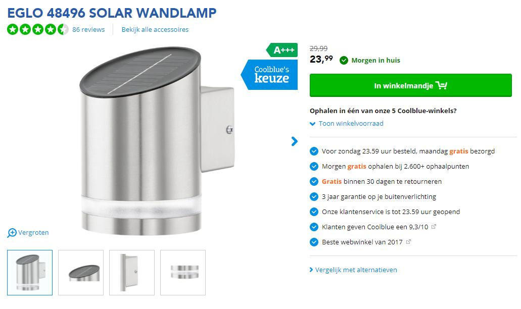 Coolblue Eglo 48496 Solar Wandlamp