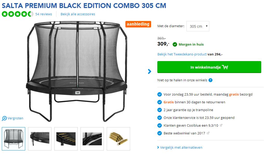 Coolblue Salta Premium Black Edition Combo 305 Cm Trampoline